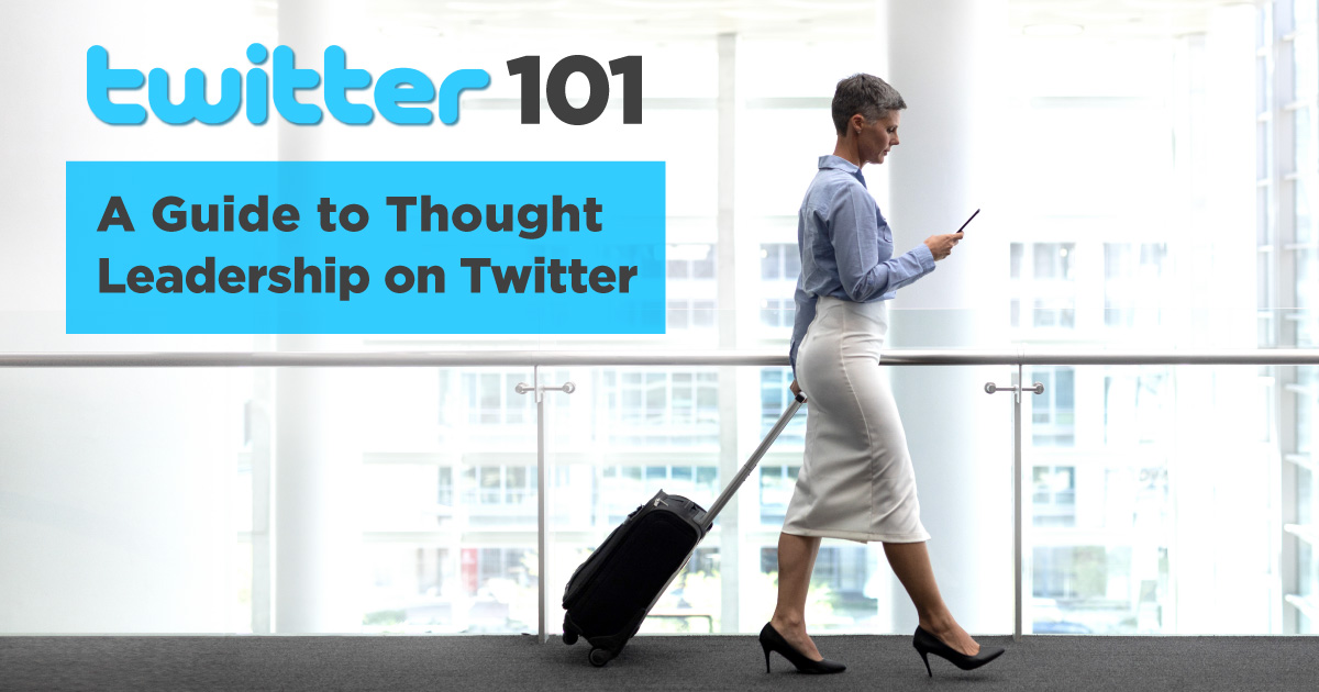 "An photo of a middle aged white woman with short grey hair and professional attire using a smartphone and walking with a suitcase. Text on the image reads: ""Twitter 101: A Guide to Thought Leadership on Twitter"" – Influential Executive"