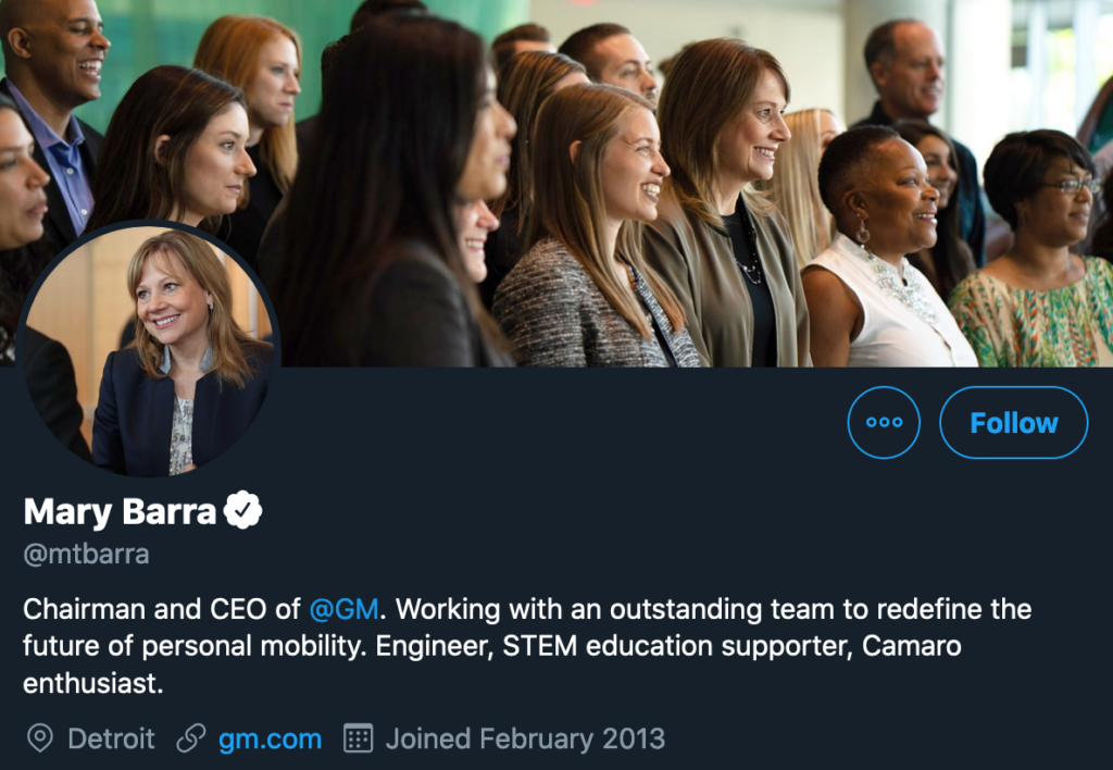 screenshot of GM CEO mary barra's optimized twitter profile
